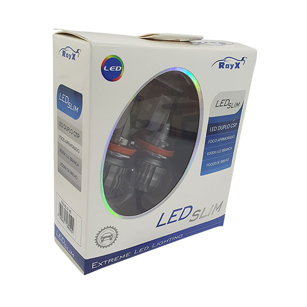 KIT SUPER LED SLIM DUPLO CSP H8 RAY X - 11.000 LÚMENS (PAR) / FOCO BRANCO 6000K / COMPACTO / CANCELLER - CSLIM-H8