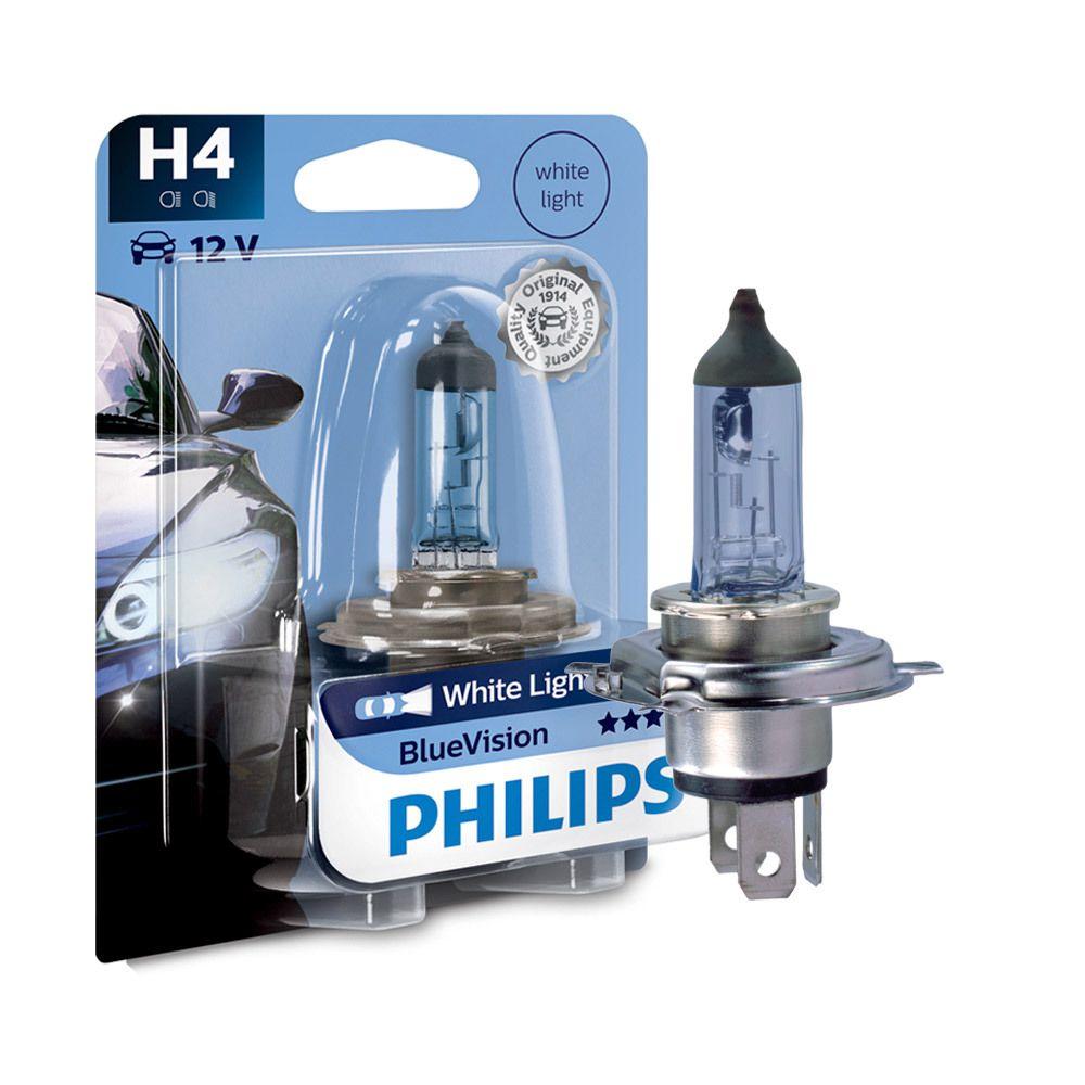 Lâmpada Philips H4 Blue Vision 3700K 6055W - Moto