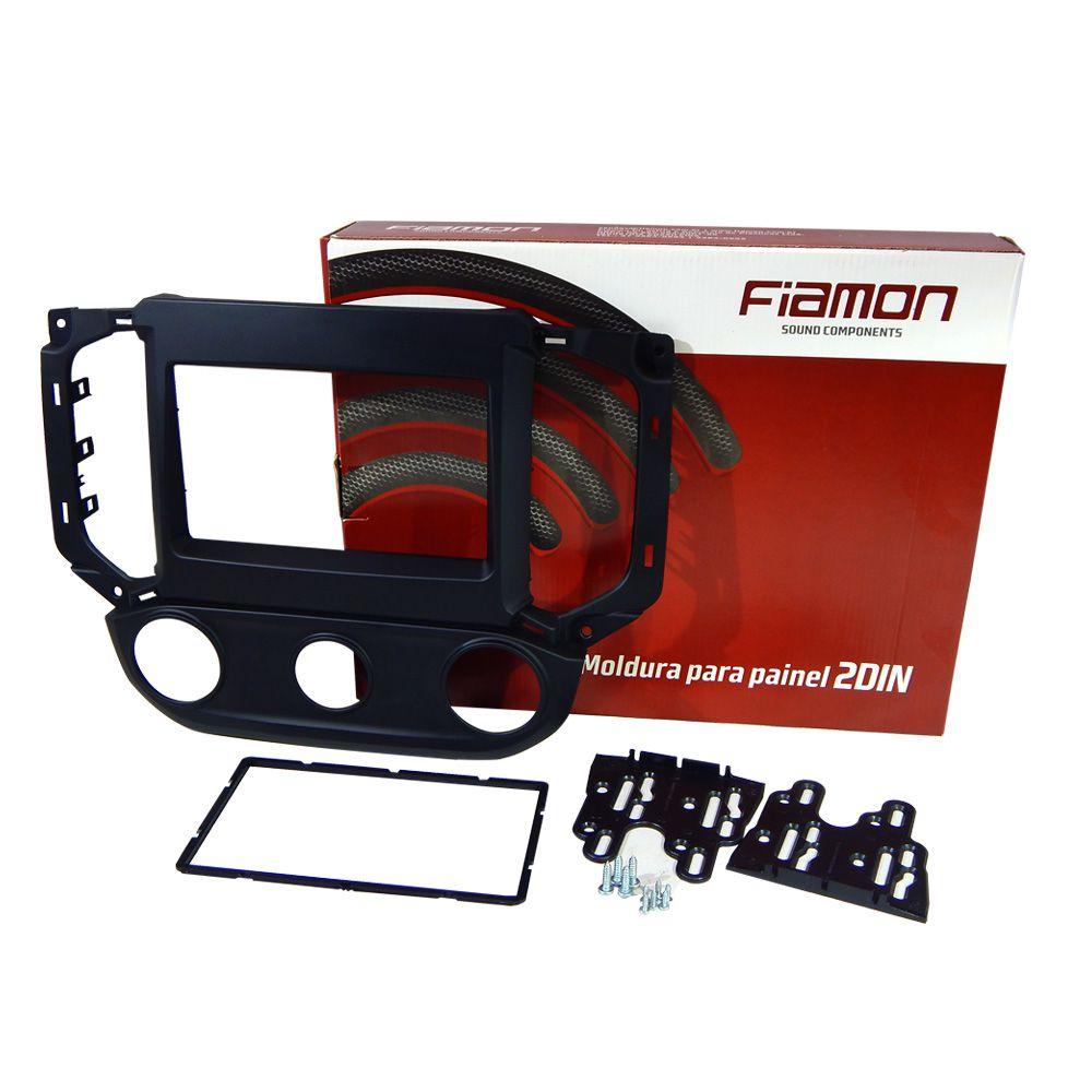 Moldura de Painel Fiamon 2 DIN S10 Ar Analogico 16/18 Preto Fosco