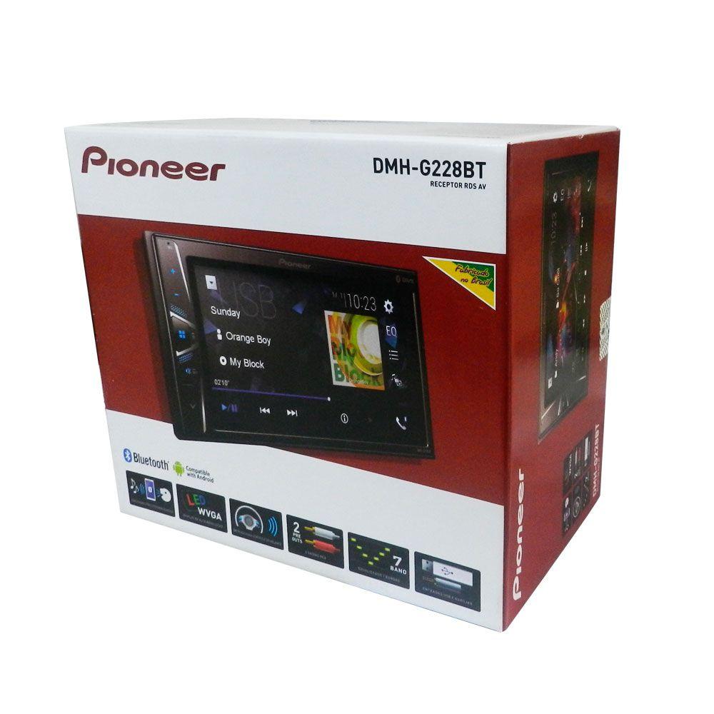 "Multimídia Receiver Pioneer DMH-G228BT /Bluetooth 2 DIN 6.2"""