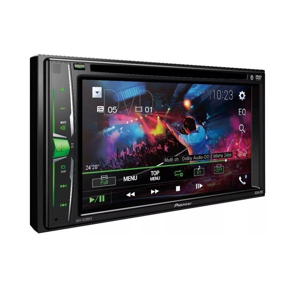 "Multimídia Receiver DVD 6,2"" Pioneer AVH-A208BT c/ Bluetooth"