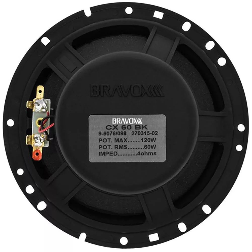 "Par Alto Falante Coaxial 6"" Bravox CX60BK - 120W RMS o Par"