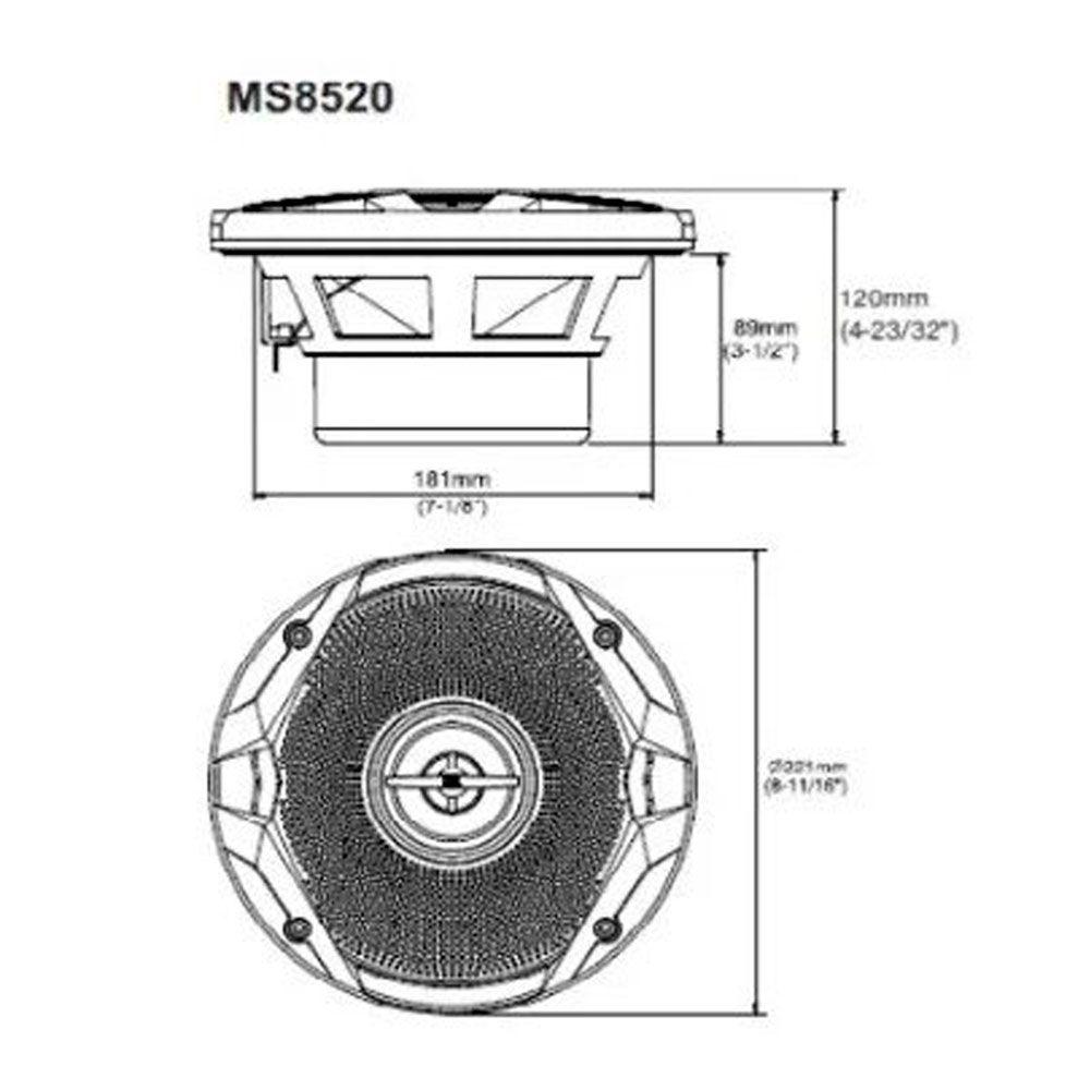 """Par de Falantes Náuticos Coaxiais 8"""" JBL Marine MS8520 120w RMS Marítimo"""