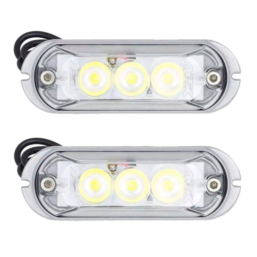 Par Farol Slim 3 LEDs Ajk Linha Strobo Pro Branco