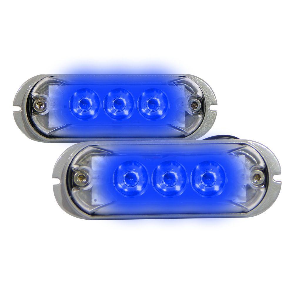 Par Farol Slim 3 LEDs Ajk Linha Strobo Pro Azul
