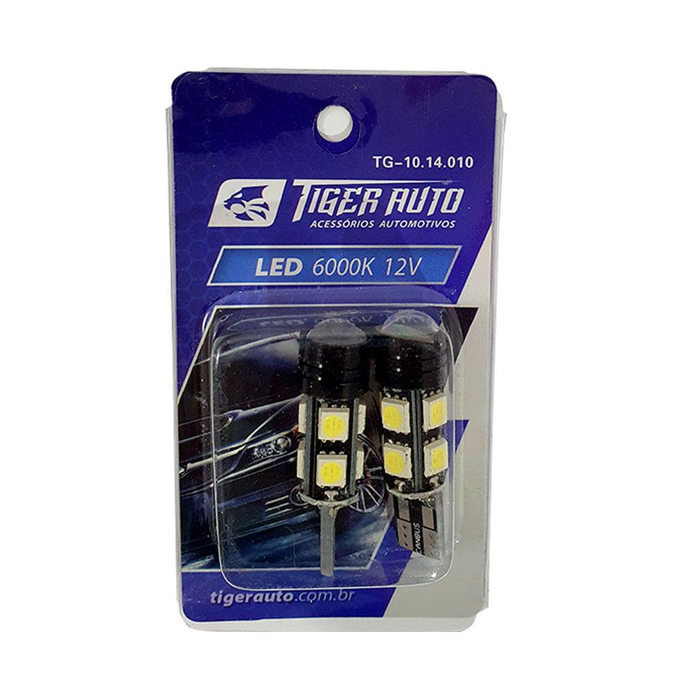 PAR LAMPADA PINGO SUPER LED CAMBUS T10 TIGER 12V - PINGO GRANDE W5 - C/ 9 LEDS SUPER BRANCO 6000K - TG-10.14.010