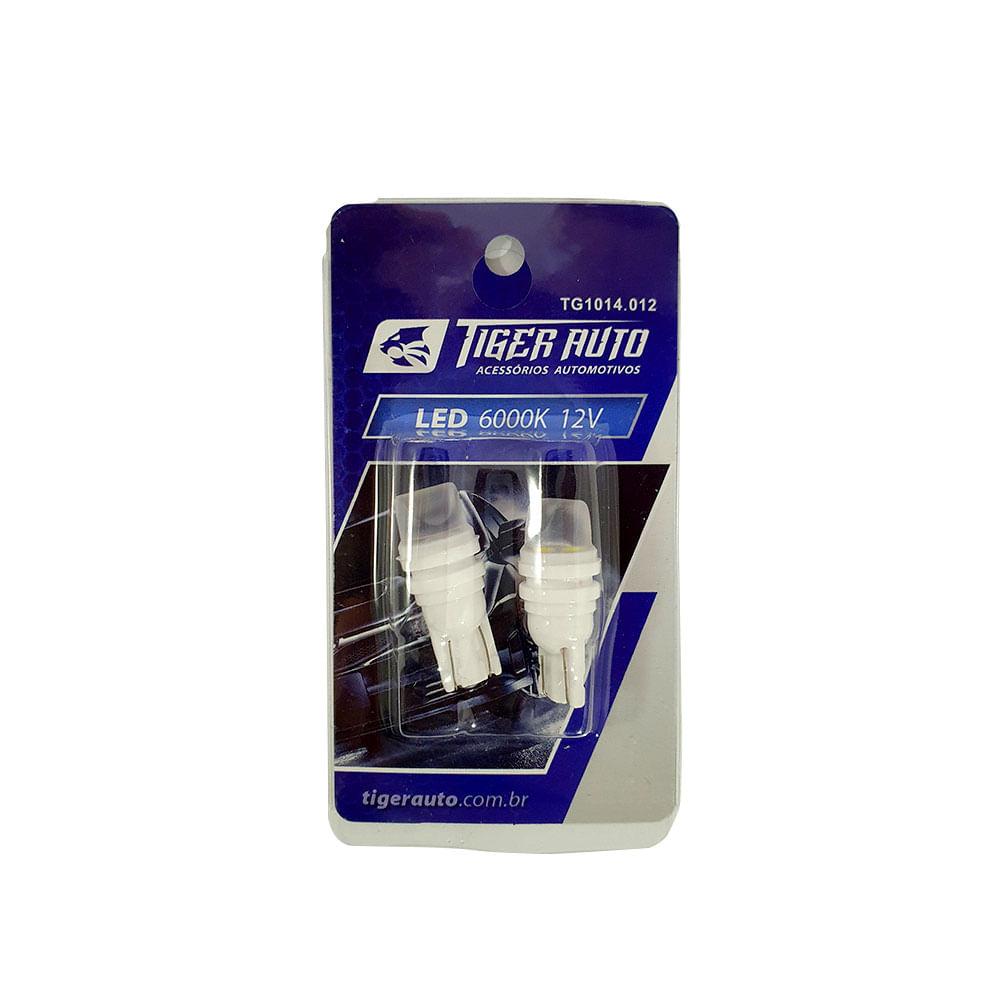 PAR LAMPADA T10 TIGER LED CREE 12V - PINGO GRANDE W5 - C/ 3 LEDS SMD CREE SUPER BRANCO 6000K - TG-10.14.012 / 1014012