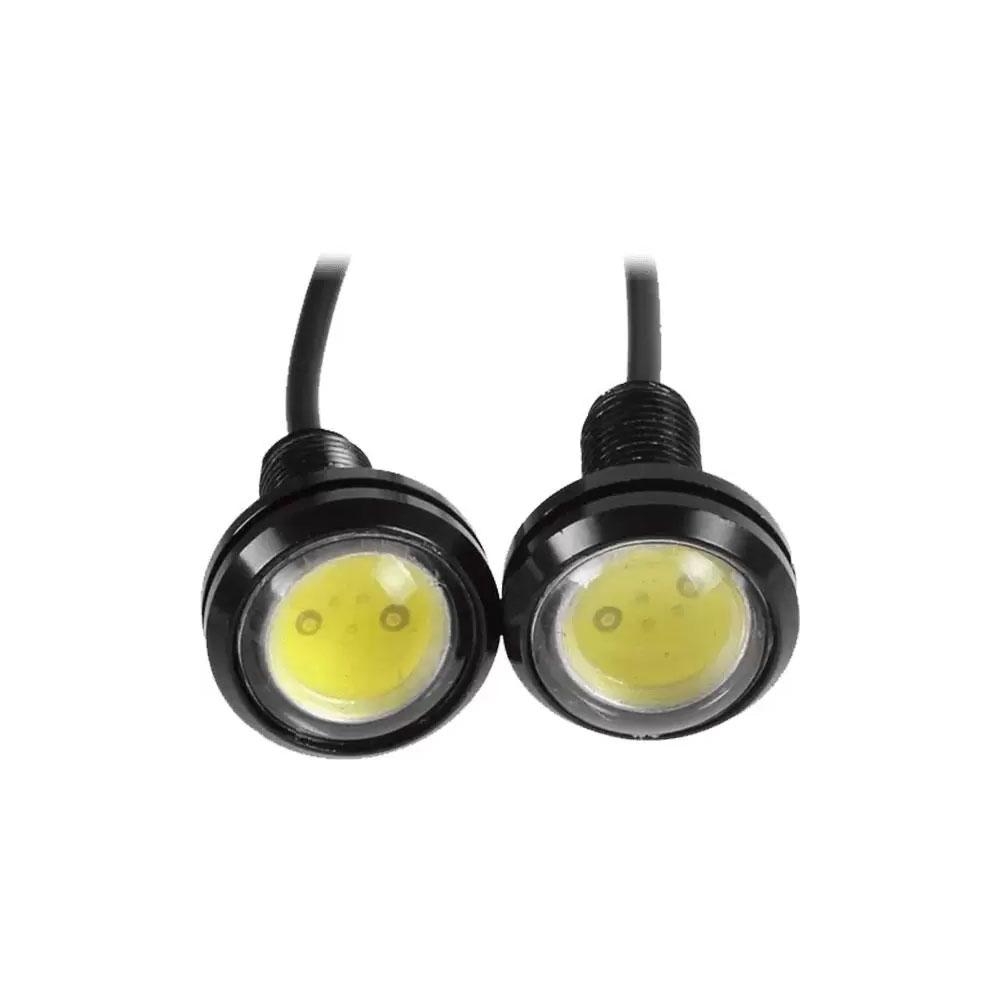 PAR MINI FAROL DE MILHA SUPER LED SPOT RAY X LT1624 EAGLE EYE - DRL 1.5W HIGH POWER 12V / CABO 35CM / C/ ROSCA (02 PÇS)