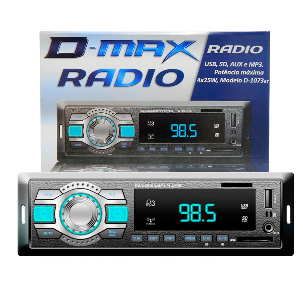 Rádio MP3 Player Automotivo D-Max D-1073 BT/ USB / Aux / SD