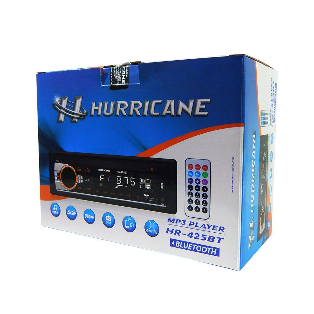 Rádio MP3 Player Hurricane HR425BT Controle Bluetooth USB SD