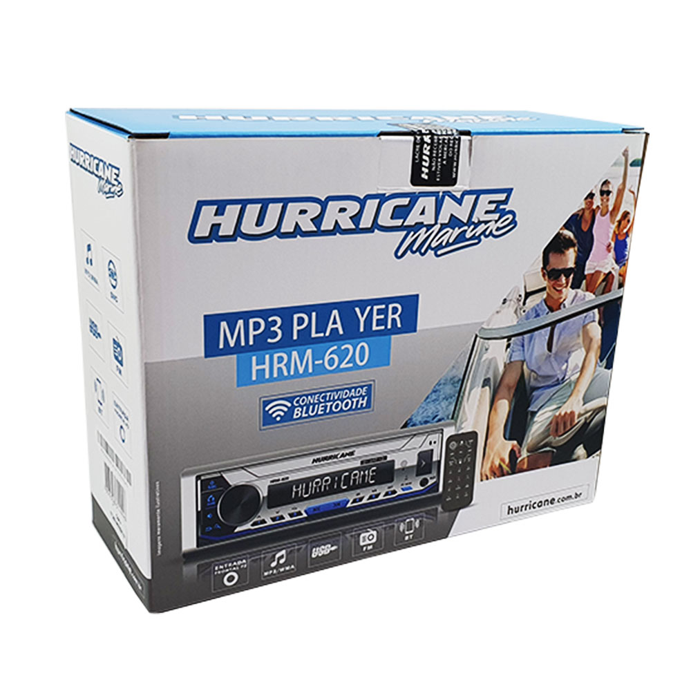 RECEIVER MP3 PLAYER MARINE HURRICANE HRM-620 PAINEL LED MULTICOLOR BLUETOOTH
