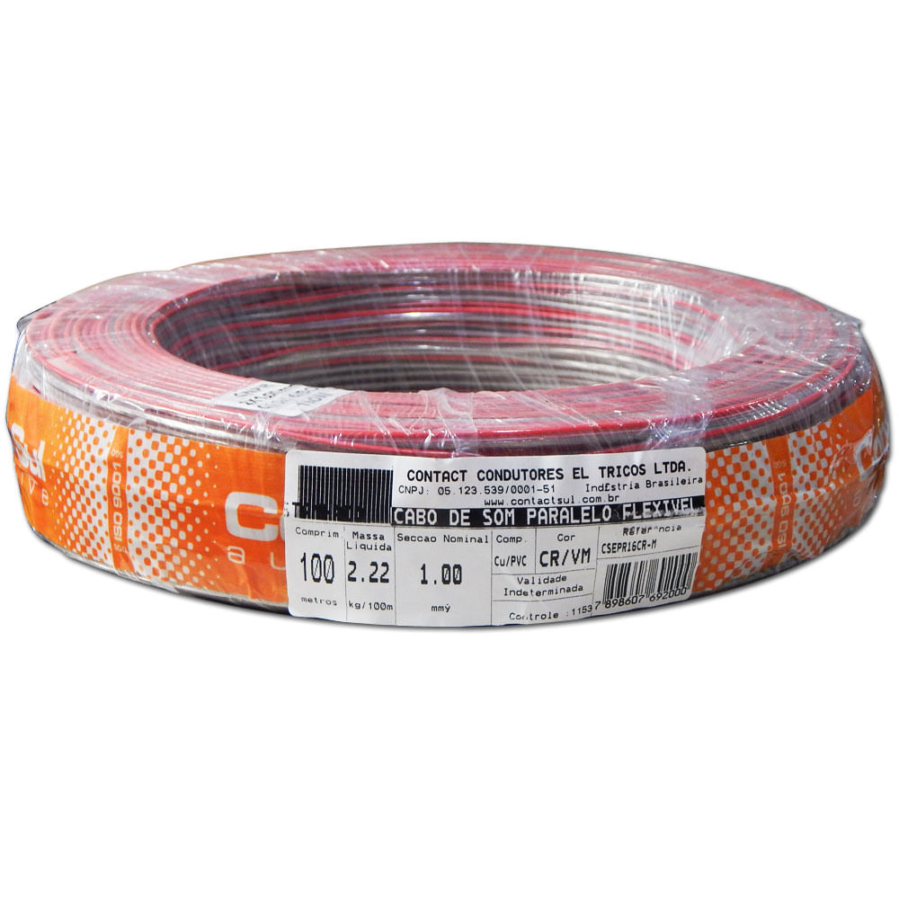 Rolo 100m Fio Paralelo Náutico Contactsul 2x1,00mm Estanhado - Fio Náutico 2x 1mm - CSNPR 2X16C - MARINE