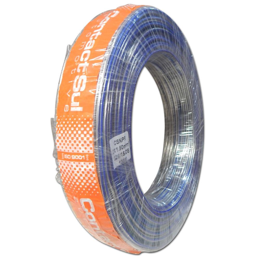 Rolo 100m Fio Paralelo Náutico Contactsul 2x1,50mm Estanhado - Fio Náutico 2x 1,5mm - CSNPR 2X14C - MARINE