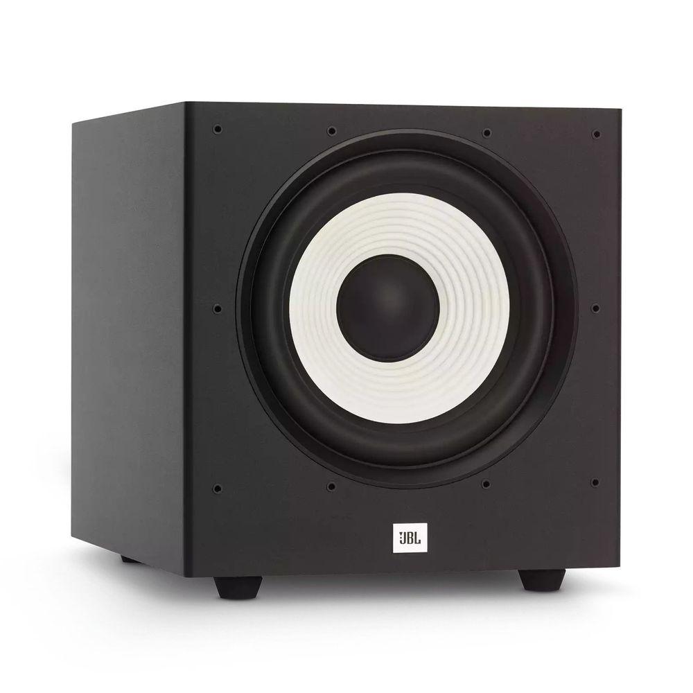 "SUBWOOFER ATIVO 10"" JBL STAGE A100P PARA HOME THEATER 300W MUSICAL (150W RMS) - PRETO - JBLA100PBLKBR"