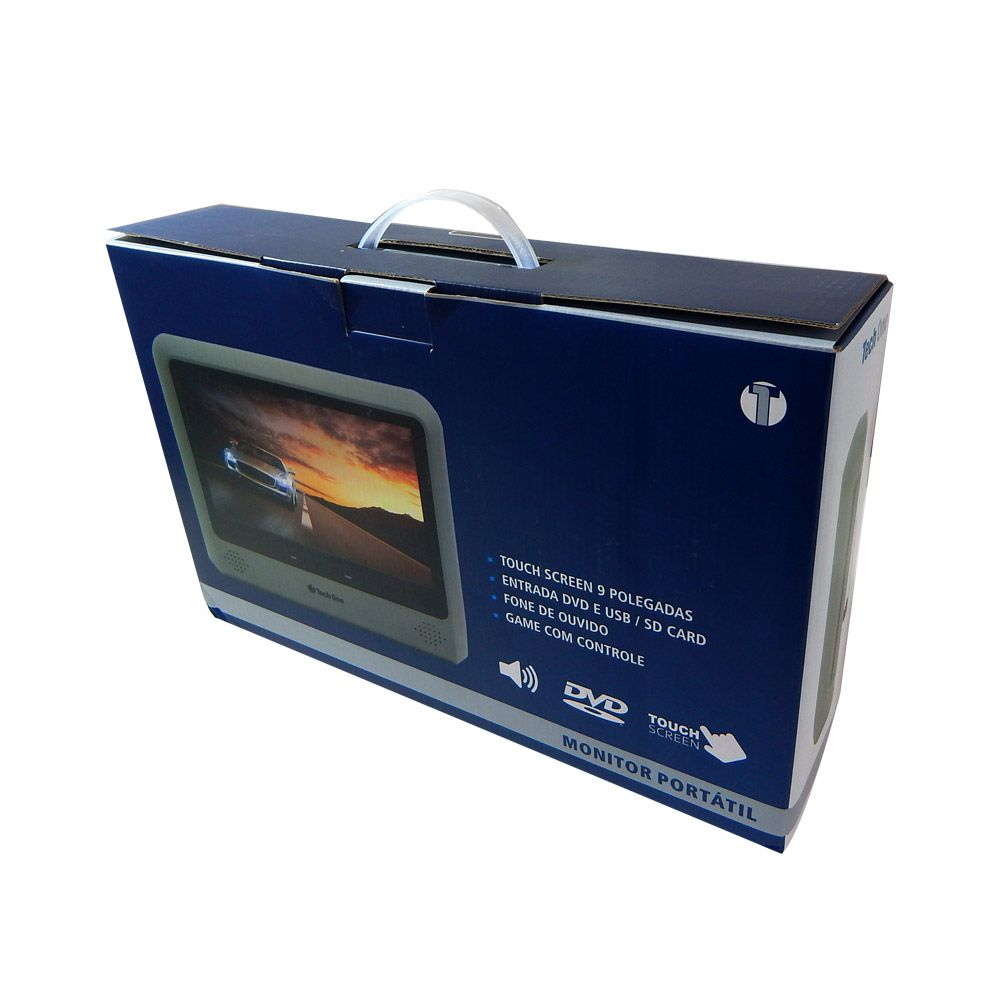 "Tela DVD 9"" Techone de Acoplar Touch screen USB SD - Bege"
