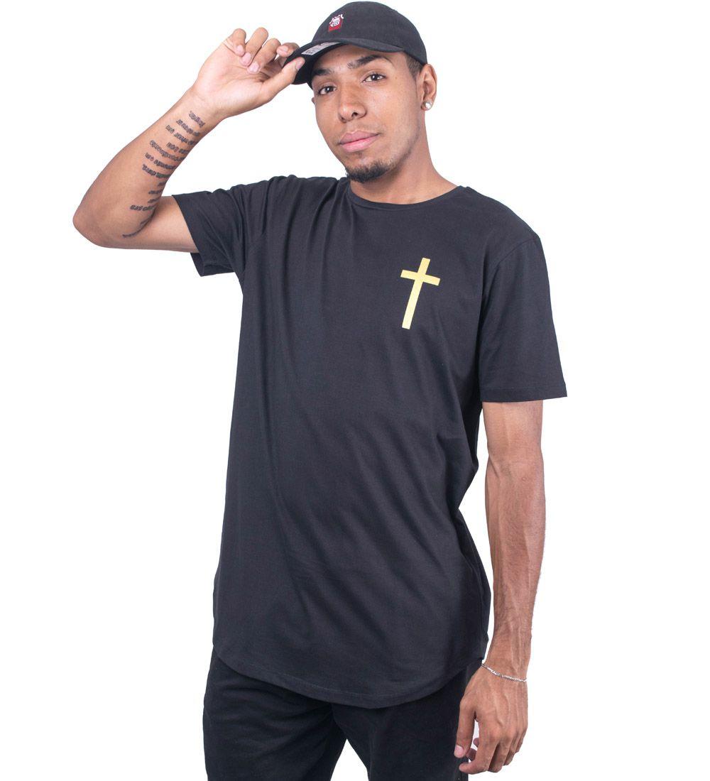 Camiseta Jota k Longline Minha Fé é Maior que Tudo