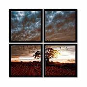 Quadro Mosaico 72x72cm Árvore Solitária C/ Mold.