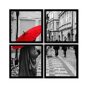 Quadro Mosaico 72x72cm Red Umbrella C/ Mold.