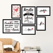 Conjunto 6 Quadros Decorativos Família é Onde a Vida Começa
