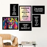 Conjunto 6 Quadros Decorativos Motivação Seja Mais Forte Leão Colorido