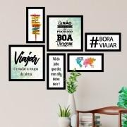 Conjunto Kit 6 Decorativos Quadrado #bora Viajar