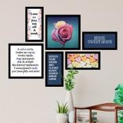 Conjunto Kit 6 Quadrado Decorativos A Vida É Curta