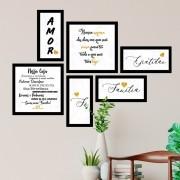 Conjunto Kit 6 Quadrado Decorativos Amor Família Gratidão Dourado