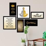 Conjunto Kit 6 Quadrado Decorativos  Budismo Dourado