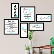 Conjunto Kit 6 Quadrado Decorativos Família Verde Água