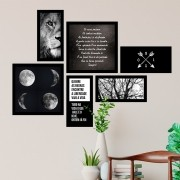 Conjunto Kit 6 Quadrado Decorativos Fases Da Lua