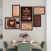 Conjunto Kit 6 Quadros C/ Moldura Paz - Amor - Café