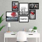 Conjunto Kit 6 Quadros Inspire Preto Branco e Vermelho