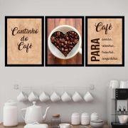 Kit 3 Quadros 33x43 C/ Mold Café Para Acordar- Cantin Café