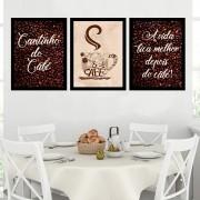 Kit 3 Quadros Decorativos 33x43  Cantinho Do Café