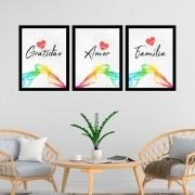 Kit 3 Quadros Decorativos 33x43 Família/Amor/Gratidão
