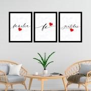 Kit 3 Quadros Decorativos 33x43  Família/Fé/Gratidão