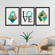 Kit 3 Quadros Decorativos  33x43 Love