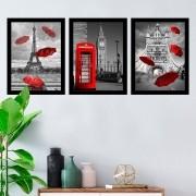 Kit 3 Quadros Decorativos Cidade Preto E Branco Com Vermelho