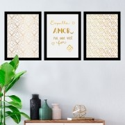 Kit 3 Quadros Decorativos Espalhe Amor Por Onde For