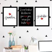 Kit 3 Quadros Decorativos Família e Gratidão