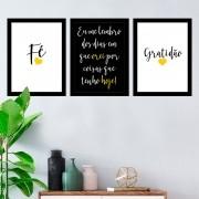 Kit 3 Quadros Decorativos Fé Gratidão Amarelo Oração Eu me Lembro