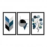 Kit 3 Quadros Decorativos Grandes Azul Gratidão Love Árvore