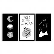 Kit 3 Quadros Decorativos Grandes Fases da Lua Você é Seu Único Limite