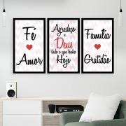 Kit  3 Quadros Decorativos Grandes Frase Deus Família Gratidão