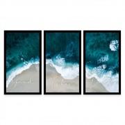 Kit 3 Quadros Decorativos Grandes Mar Apenas Boas Vibrações