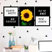 Kit 3 Quadros Decorativos Ho'oponopono Girassol