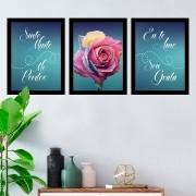 Kit 3 Quadros Decorativos Ho'oponopono Rosa Colorida