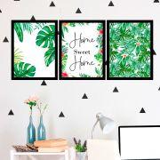 Kit 3 Quadros Decorativos Home Sweet Home