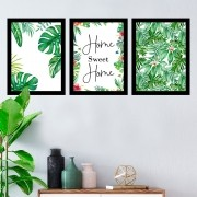 Kit 3 Quadros Decorativos Home Sweet Home