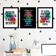 Kit 3 Quadros Decorativos Insista e Persista